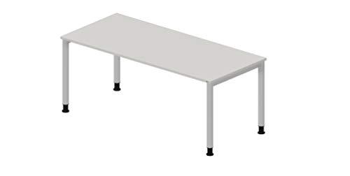 OKA Simply DL8 Schreibtisch Tischbeine Rund (Grau-Alusilber, 200 x 80cm)
