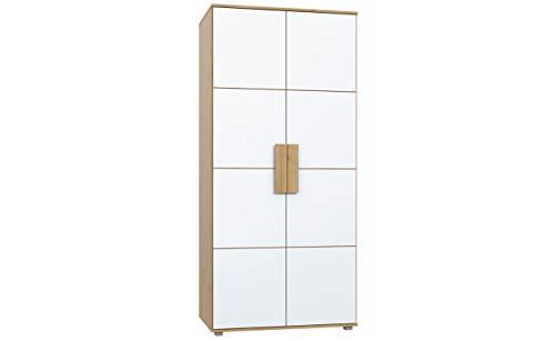 Furniture24 Kleiderschrank ARKINA LBLS82, Schrank, 2 Türiger Jugendschrank mit 1 Einlegeboden und 1 Kleiderstangen, Kinderschrank, Drehtürenschrank (Artisan Eiche/Weiß)