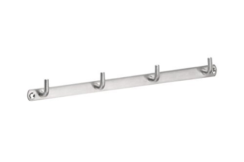 Metafranc Hakenleiste 310 mm - Edelstahl - 4 Haken - Neutrale Optik - Zur Wandmontage - Ideal für Badezimmer oder Küche / Handtuchleiste / Wand-Garderobe / Wandhaken / Handtuchhalter / 262141