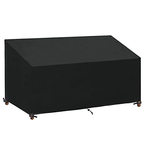 SanGlory Abdeckung für Bank 2/3/4 Sitzer, Wasserdichtes Winddicht Gartenbank Schutzhülle Bankabdeckung Anti-UV Beschichtung (185x69x65/96cm)