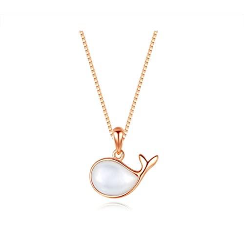 zxb-shop Collar de Joyas Collares para Mujeres diseño de Peces de Colores, Collares de Plata/cáscara, Sencillo y Elegante, Exquisito Collar Colgante Joyas Regalos (Color : A)