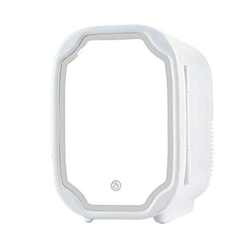 LVYE1 MRMF Mini Refrigerador De Belleza para Maquillaje, Refrigerador De Cosméticos Portátil De 8 L, Espejo De Maquillaje con Luz Led, Refrigerador Más Frío/Caliente, para Dormitorio, Oficina, Coche
