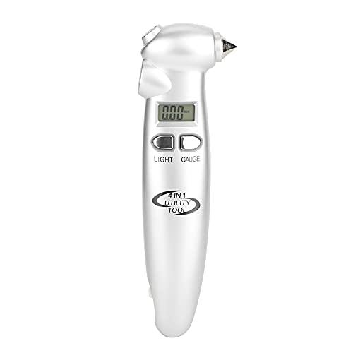 Medidor de neumáticos Digital Medidor de neumáticos de coche Medidor de presión de aire de neumáticos Pantalla LCD Herramienta de emergencia multifuncional 4 en 1
