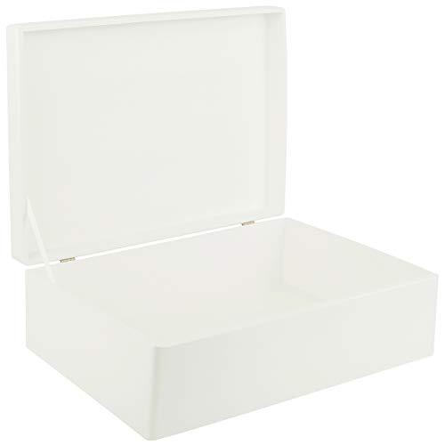 Creative Deco XL Blanca Grande Caja de Madera para Juguetes | 40 x 30 x 14 cm (+/-1cm) | con Tapa Cofre para Decorar | para Almacenar Documentos, Objetos de Valor, Herramientas