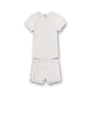 Sanetta Mädchen Pyjama kurz Zweiteiliger Schlafanzug, Weiß (Weiß 1427), (Herstellergröße:152)