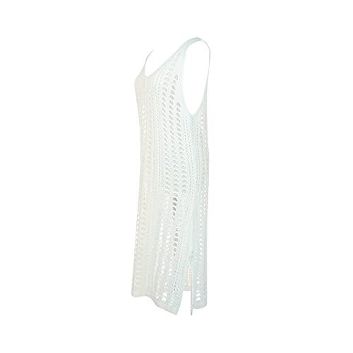 Vestido de Playa Pareo de Punto para Mujer Mini Vestido sin Manga de Tirantes Cubierta de Bikini Cover Up de Bañador con Cuello en V Traje de Baño para Mar Viaje Vacaciones (Blanco, XXL)