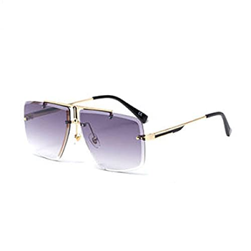 Beizi Gafas de Sol cuadradas Vintage sin Montura para Hombres, Gafas de Sol Retro de Marca de Lujo, Gafas de conducción para Hombre, Oro, Doble Gris