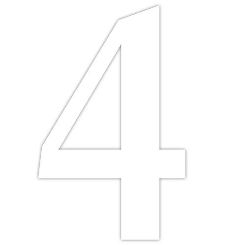 Zahlen-Aufkleber Nr. 4 in weiß I Höhe 5 cm I selbstklebende Haus-Nummer, Ziffer zum Aufkleben für Außen, Briefkasten, Tür I wetterfest I kfz_462_4
