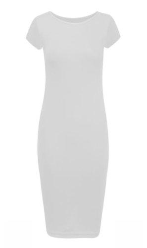 Nieuwe Womens Plus Size Dames Jersey Midi Jurk Basics Cap Sleeve Bodycon 16-22