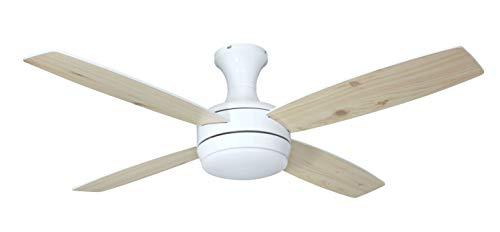 Deckenventilator mit Beleuchtung und Fernbedienung Saturn, weiß, Flügel Pinie und weiß, 132 cm