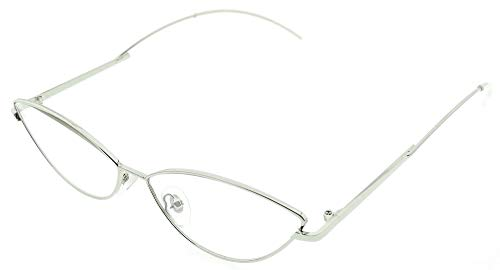 Lovelegis Gafas de sol mujer gato - mariposa - ojos de gato - delgadas - alargadas - vintage - retro - trampa - moda - montura plateada - lente transparente