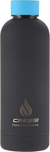 Cressi Rubber Coated Thermal Flask 500 ml Botella térmical para Deportes, Cubierta de Goma, Unisex-Adult, Negro/Azul