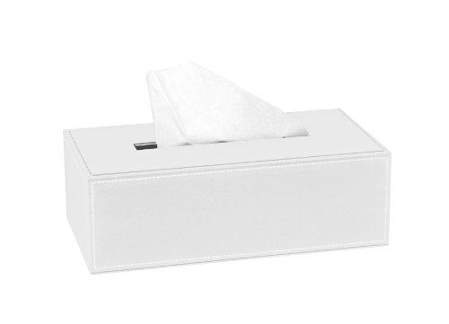 Andrea BA7286 Behälter für die Taschentücher, Lederoptik, weiß