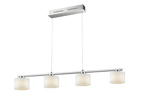 Trio Leuchten LED Pendelleuchte, Integriert, 6 W, Nickel Matt, Glas Opal Weiß, 4-flammig