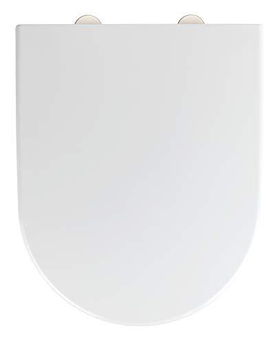 WENKO WC-Sitz Exclusive Nr. 4 - Antibakterieller Toiletten-Sitz mit Absenkautomatik, Duroplast, 38 x 46 cm, Weiß