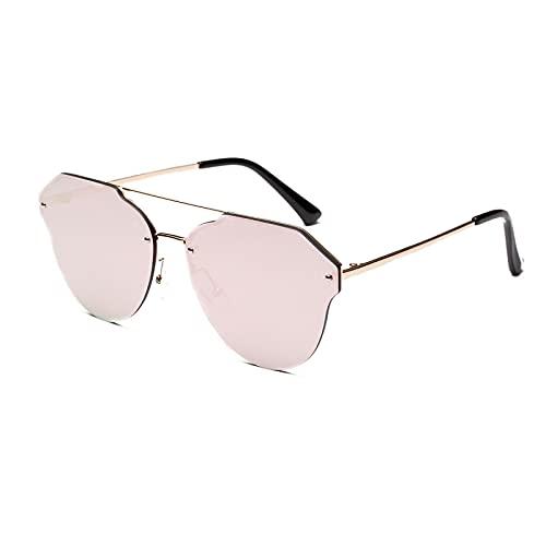 JINZUN Gafas de Sol Reflectantes de Color Plano, Espejo Lateral de Metal con Forma de Sapo, Gafas de protección UV, Oro Rosa Unisex