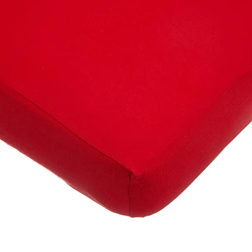 American Baby Company Supreme 100% Natural Cotton Jersey Knit Fitted Crib Sheet for Standard Crib and Toddler Mattresses, Red, Soft Breathable, for Boys and Girls, 28 X 52 Inch
