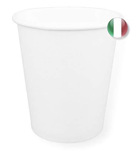 Made in Italy 50 Bicchieri in Carta da 200ml Riciclabili Monouso Cartoncino Biodegradabile Compostabile per Acqua caffè Thè Cioccolata Calda Bevande Ecologico USA e Getta Tutto Bianco (50, 200ml)