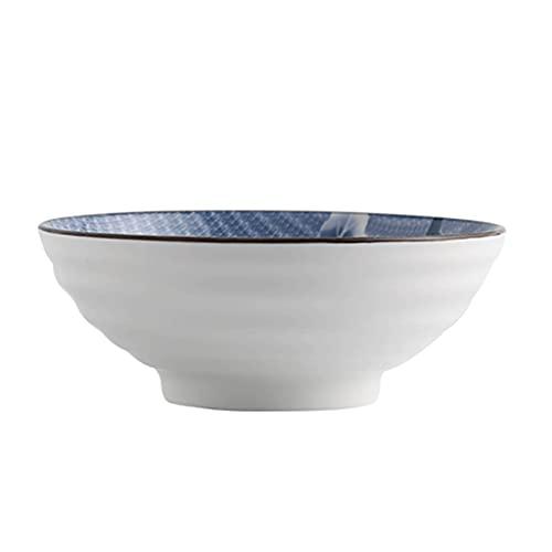 Ensaladera grande de porcelana china azul y blanca, 1200 ml, cuencos para ensalada, sopa, arroz, postre de 20,2 cm, apto para microondas y lavavajillas