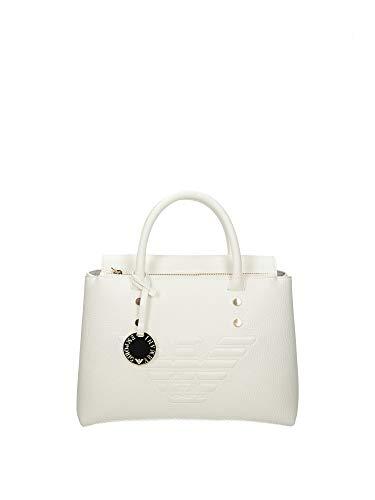 Emporio Armani Weiße Tasche aus Kunstleder mit Logo AQUILA, Weiß Einheitsgröße