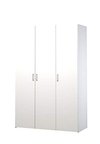 Esidra, Armadio Bianco a 3 Ante, 116x49x175cm
