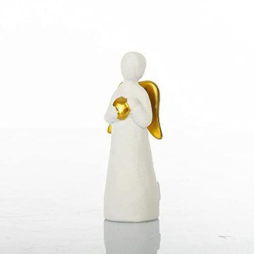 Ingrosso e Risparmio Cuorematto – 12 figuras con forma de ángel estilizado de cerámica blanca con corazón y alas doradas, bombonera moderna para bautizo, comunión (con caja naranja)