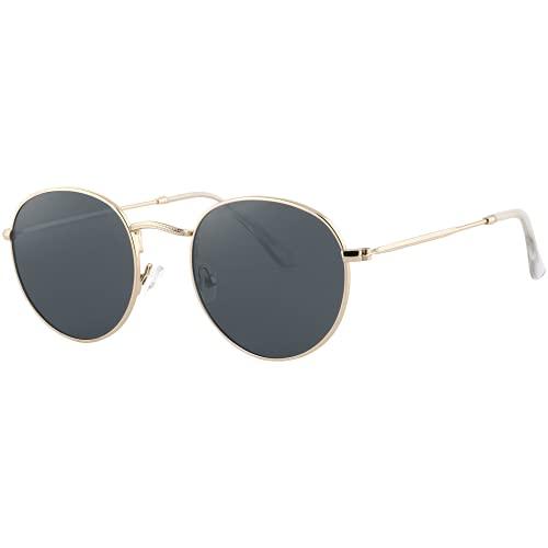 EFE Gafas de Sol Deportivas Polarizadas para Mujeres y Hombres Neutrales Diseñador y Redondas de Espejo Polaroid Contra los Rayos Ultravioletas Gris