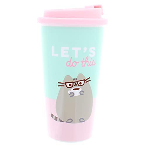 Pusheen Reisebecher | 400 ml wiederverwendbare Kaffeetassen | Umweltfreundliche Kaffeetassen | Reise-Kaffeetassen mit Deckel | Teetasse | Geschenke für Mädchen und Jungen