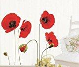 Zantec Rote Mohnblumen Entfernbare Transparente Wand Aufkleber Kunst