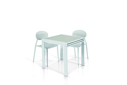 Fashion Commerce Tavolo FC941, Vetro^Metallo, Bianco, 90 X 90-180 X 90 Cm