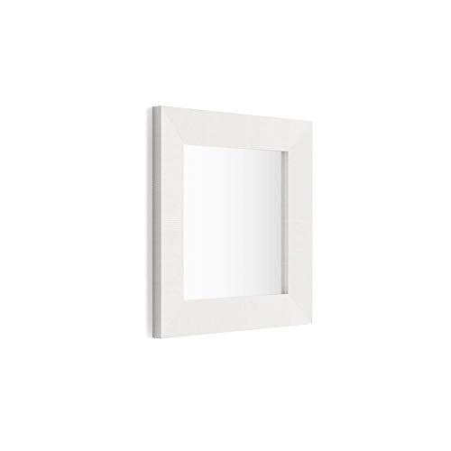 Mobili Fiver, Espejo de Pared Cuadrado, Marco de Color Fresno Blanco, Modelo Giuditta 65x65, Aglomerado y Melamina/Vidrio, Made in Italy