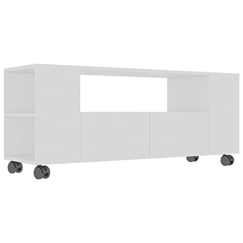 vidaXL TV Schrank mit Rollen 2 Schubladen Lowboard TV Möbel Board Fernsehtisch Fernsehschrank HiFi-Schrank Weiß 120x35x43cm Spanplatte