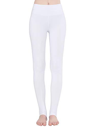 Zeronic Women's High Waist Stirrup Leggings Tights Gym Workout Yoga Pants (White, Small)