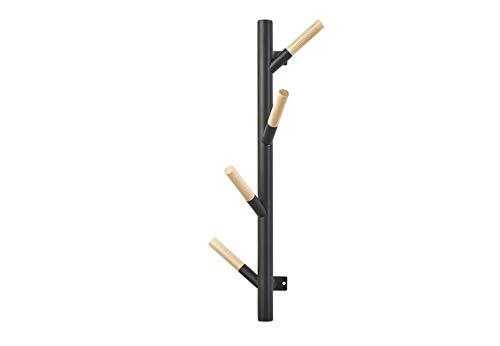 Kobolo Wandgarderobe TWIG aus Holz mit schwarzer Lackierung und 4 Haken H58 cm