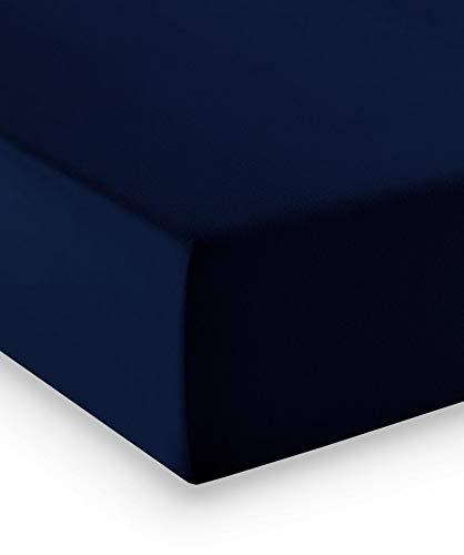 fleuresse Premium Jersey-Elasthan Spannbettlaken - alle Größen und viele Farben - Comfort 180x200 cm Nachtblau