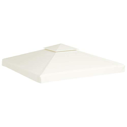 Ausla Telo di Ricambio Telo Camino per Gazebo da Giardino 3 x 3 m, 310 g/m², Impermeabile con Rivestimento in PVC, Non Include Il Telaio del Gazebo, Bianco Crema