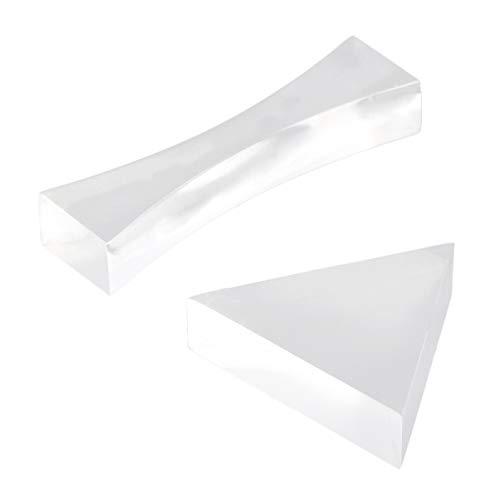 NUOBESTY 2-Teilige Optische Glaslinse Und Prismenset-Dreiecksprisma-Doppelkonkavglaslinse für Den Grundlegenden Physikunterricht