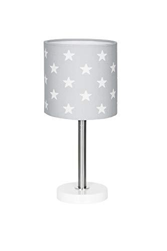 Lámpara de mesa, diseño de estrellas, color gris y blanco