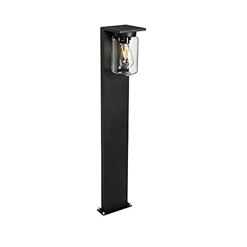 QAZQA Moderno Modern buitenpaaltje zwart 90 cm IP54 - Marshall Aluminio/Vidrio Alargada Adecuado para LED Max. 1 x 18 Watt