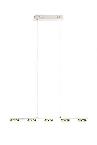 Illuminate Reda - Lampada a sospensione moderna e contemporanea a 5 luci a LED, con paralume in vetro satinato elegante e alla moda, cromato (da ++ a A)