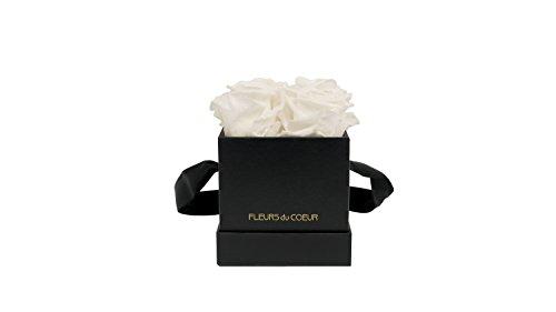 FLEURS du COEUR Infinity Blumen - Schwarze Rosenbox Le Carré eckig mit weißen Rosen