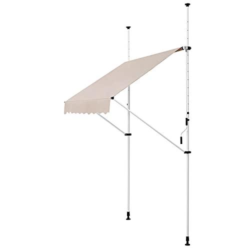 ArtLife Klemmmarkise Kuwait 150 x 120 cm – höhenverstellbar - Markise mit Handkurbel - ohne Bohren - Balkonmarkise Sonnenschutz Balkon - Beige