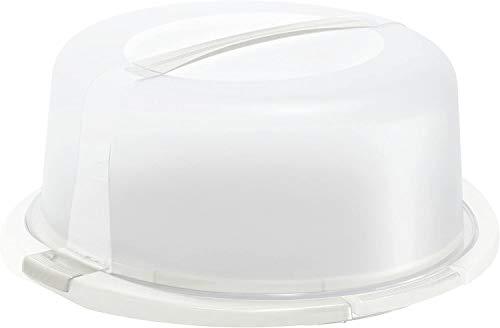Rotho Cool & Fresh Cloche à Gâteau avec Refroidissement, Hotte et Poignée de Transport, Plastique (PP) sans BPA, Blanc/Transparent, 38,0 x 34,0 x 16,0 cm