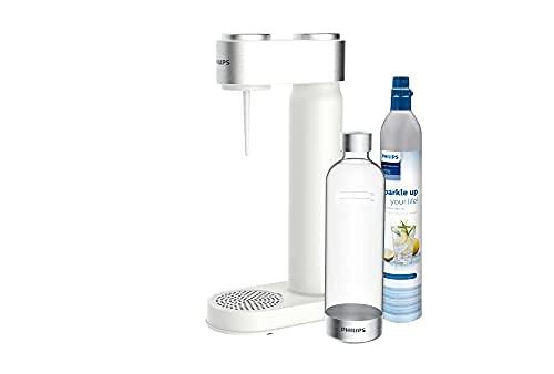 Philips ADD4902WH/10 GoZero Wassersprudler, 3x 1 L Design Kunststoff-Flasche, CO2 Zylinder, Weiss