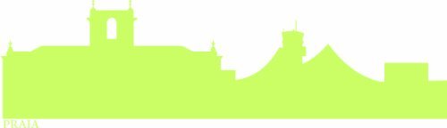 INDIGOS UG - Wandtattoo Wandsticker Wandaufkleber Aufkleber e602 Skyline Stadt - Praia (Kap Verde) 120x32 cm - gelbgrün