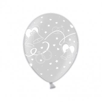 Amscan 998483 Just Married Moderne, latex ballonnen, glinsterend, zilverkleurig