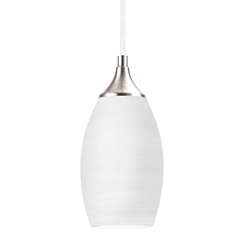 NALATI 1-Light Mini Pendant Light White Glass Shade Hanging...