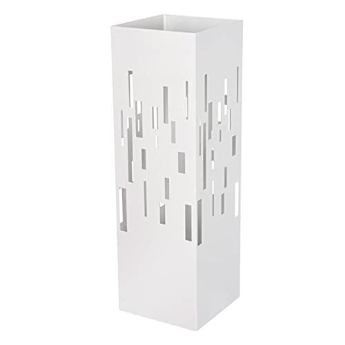 Hersig - Paragüero de metal de color blanco, de 49 x 15.5 x 15,5 cm válido tanto para interior como para exterior, con diseño moderno, con recipiente para el agua (Blanco, Diseño Minimalista)