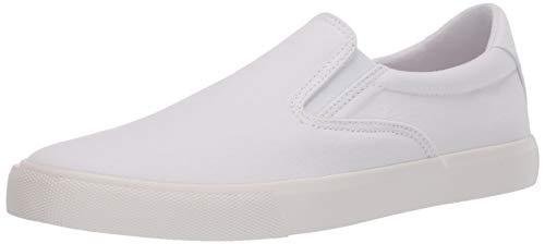 Amazon Essentials Men's Classic Canvas Slip On Sneaker, White, 12 D US
