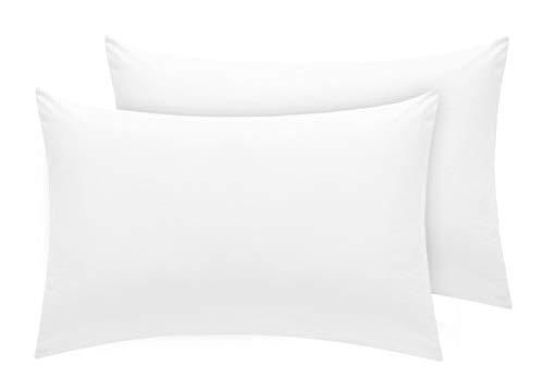 Pizuna Luxuriöser Soft-Satin 2er Pack Kissenbezug 70 x 90 cm Weiß, 400 Fadenzahl Baumwolle Kissenbezüge, 100% Langstapel Baumwolle Kissenbezug (Weiß, 70x90 cm)